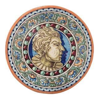 Antique Spanish Glazed Terra Cotta Plate With Bust Motif From Triana, Seville For Sale