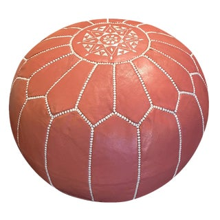 Coral Leather Pouf Ottoman by Mpw Plaza, (Unstuffed) Moroccan Leather Pouf Ottoman For Sale