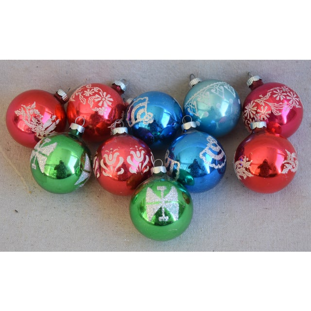 White Vintage Colorful Christmas Ornaments W/Box - Set of 10 For Sale - Image 8 of 8