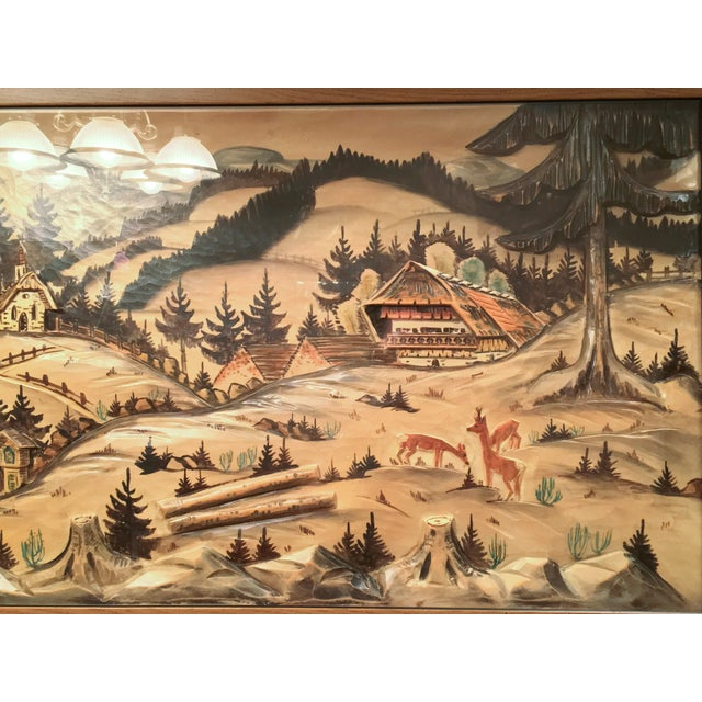 3-Piece Painted Wood Relief Mountain Diorama - Image 6 of 8