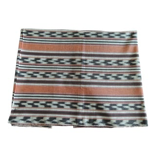 Fabric by the Yard: Vintage Orange and Black Woven Ikat Textile For Sale