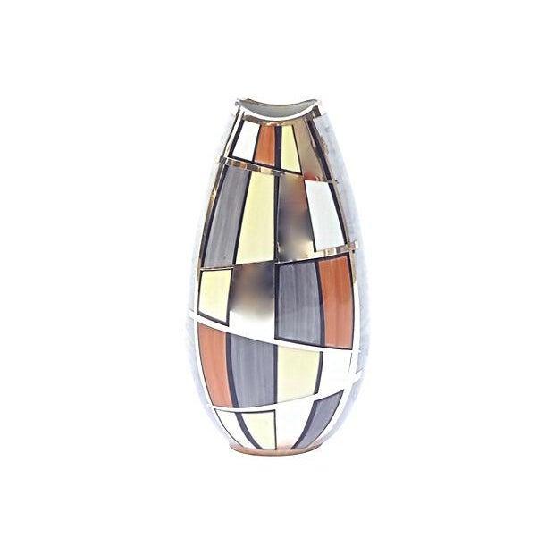 German Mid-Century Modern Manfred Vehyl, Plüderhausen silver & porcelain vase with hand-painted & silver overlay Mondrian...