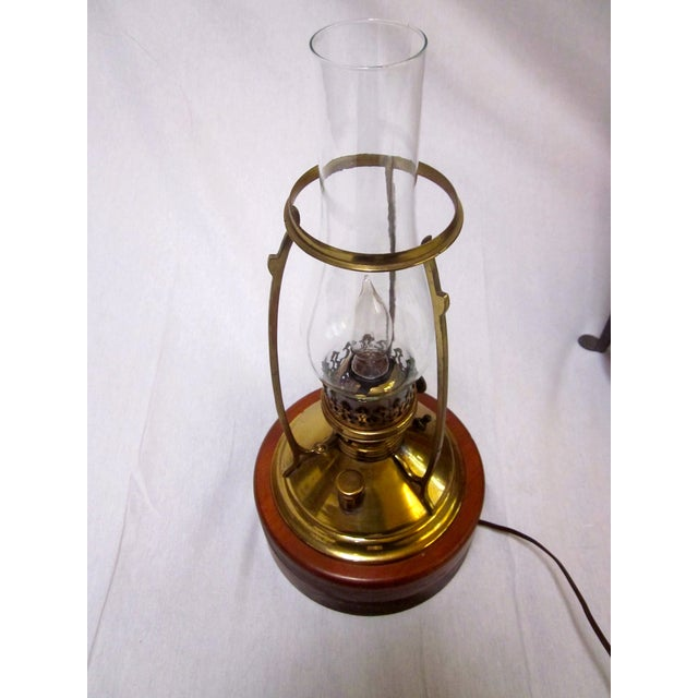 Antique Wired Brass Wood Hurricane Lamp - Image 7 of 9