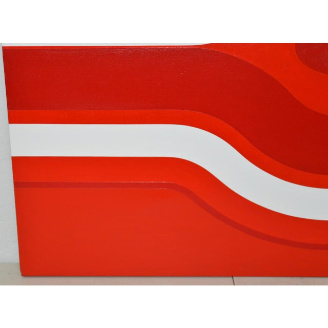 Op Art Vintage Red & White Op-Art Painting by Charles Hersey C.1970s For Sale - Image 3 of 8