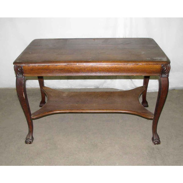 Antique Tiger Oak Table with Cabriole Legs For Sale - Image 6 of 10