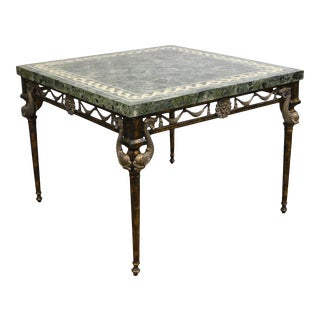 Maitland Smith Neo-Classical Square Marble Top Bronze and Iron Game Table For Sale