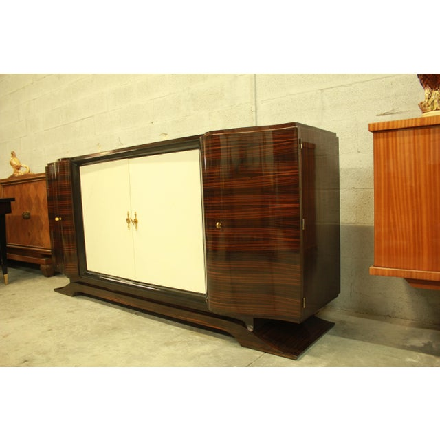 Classic French Art Deco Macassar Sideboard or Bar With Parchment Center Door By Maurice Rinck , Circa 1940s. - Image 4 of 11