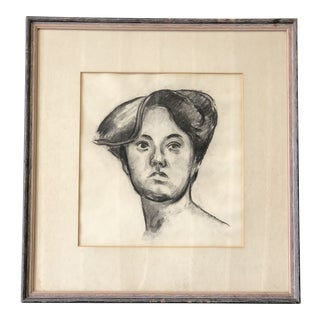 Black and White Original Charcoal Sketch of Woman For Sale