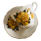 Image of Vintage Royal Ascot Bone China Yellow Rose Teacup & Saucer For Sale