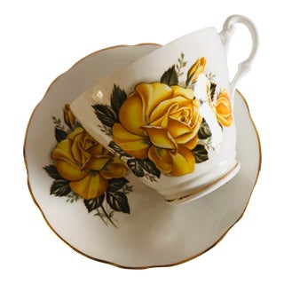 Vintage Royal Ascot Bone China Yellow Rose Teacup & Saucer For Sale