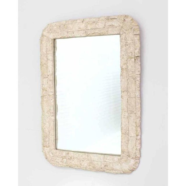 White Crushed Rock Tile Console Table with Mirror For Sale - Image 8 of 9