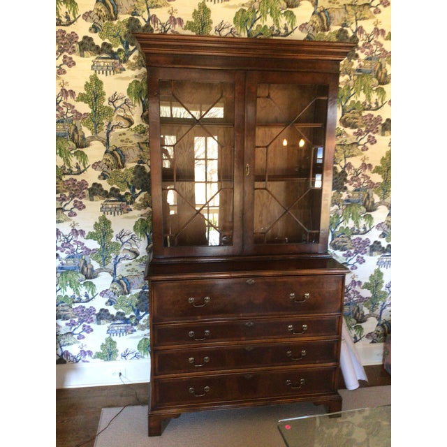 Custom Made English Breakfront Secretary in Chinese Chippendale Style For Sale - Image 11 of 11