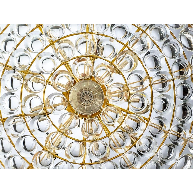 Palwa Large Palwa Circular Gilt Brass and Optical Lens Crystal Chandelier (2 Available) For Sale - Image 4 of 11