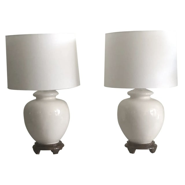 Mid-Century White Ceramic Lamps - a Pair For Sale - Image 9 of 9