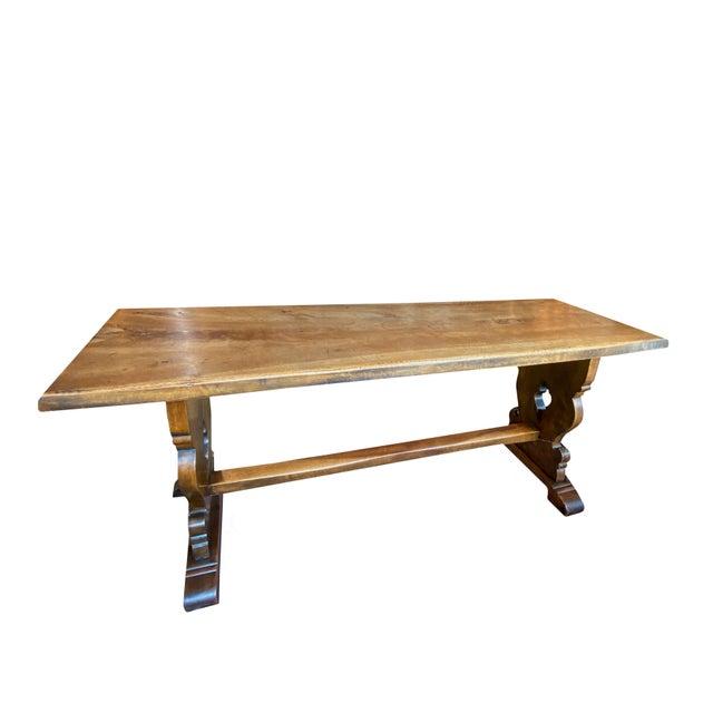 Italian Northern Italian 19th Century Walnut Trestle Table For Sale - Image 3 of 11