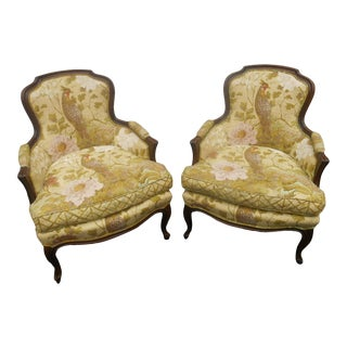 Vintage Hollywood Regency French Louis XV Fireside Lounge Arm Chairs - a Pair For Sale