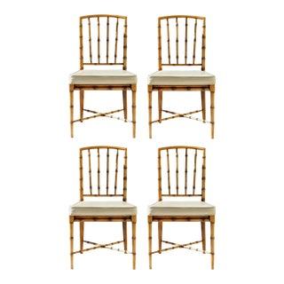 Faux Bamboo Game Table Chairs of Bleached Oak, Set of 4 For Sale