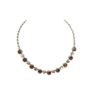 Princess Amber Austrian Crystal Necklace, 1950s For Sale