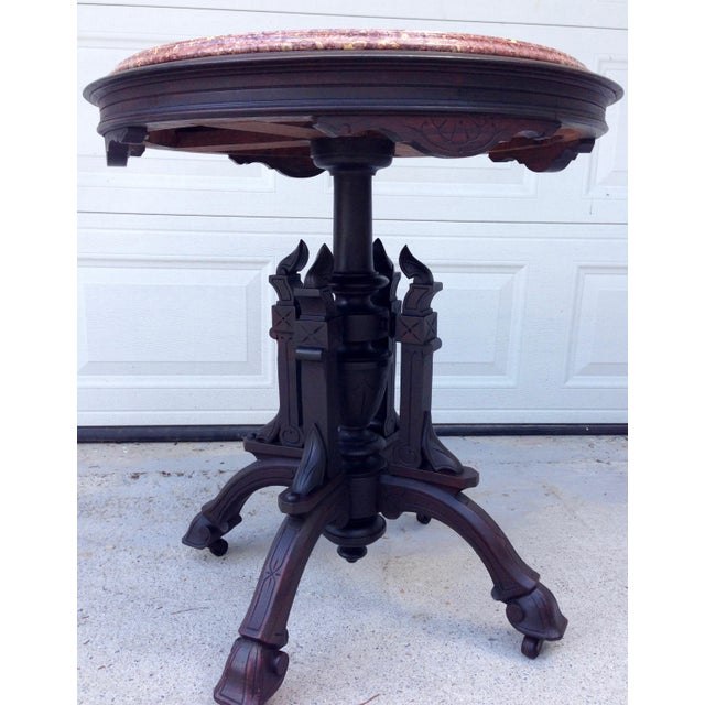 Traditional Antique East Lake Marble Top Table For Sale - Image 3 of 8