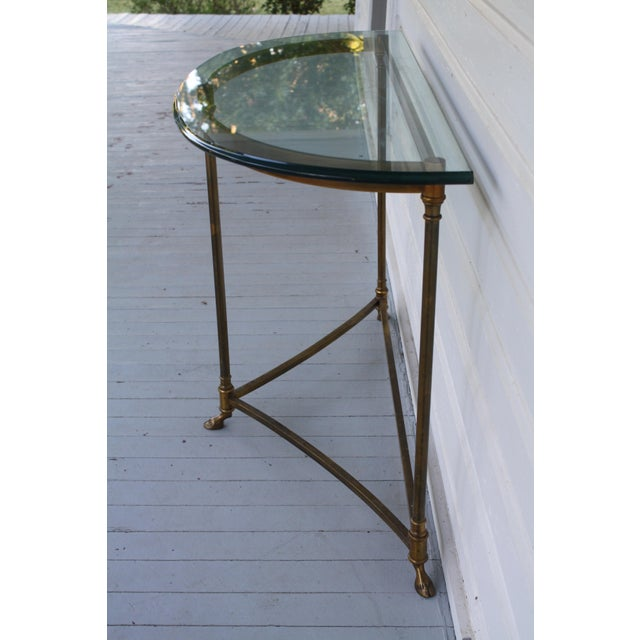 Brass Brass & Glass Demi-Lune Table - Italian For Sale - Image 8 of 12