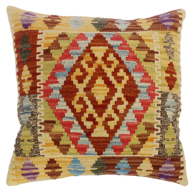 "Christin Gold/Lt. Blue Hand-Woven Kilim Throw Pillow(18""x18"") For Sale"