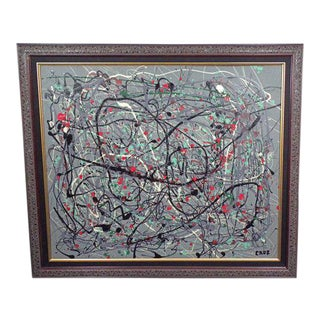 1970s Vintage Mid-Century Modern Abstract Signed Oil Painting For Sale