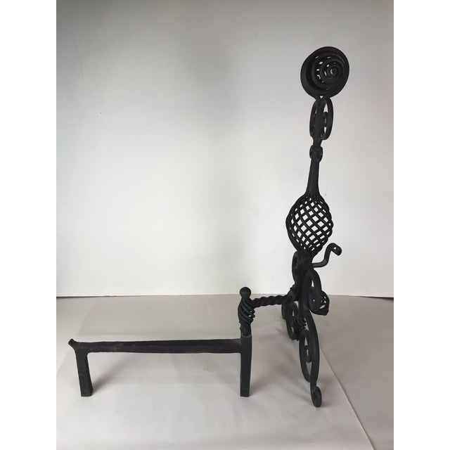 Mid Century Art and Crafts Wrought Iron Hand Frogged Iron Andirons for Fire Place - a Pair For Sale - Image 4 of 13