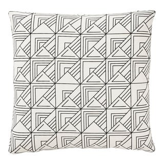 Contemporary Schumacher Frank Lloyd Wright St. Marks Check Print Black & White Pillow -18 X 18 For Sale