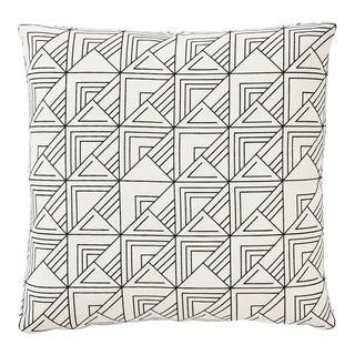 Contemporary Schumacher Frank Lloyd Wright St. Marks Check Print Black & White Pillow -18 X 18