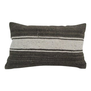 Vintage Handmade Striped Gray Turkish Kilim Pillow Cover For Sale
