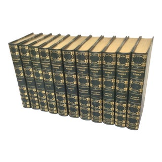 Longfellow Complete Set Green Leather Bound Books - Set of 11