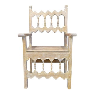 French Country Decorative Limed Wood Chair For Sale