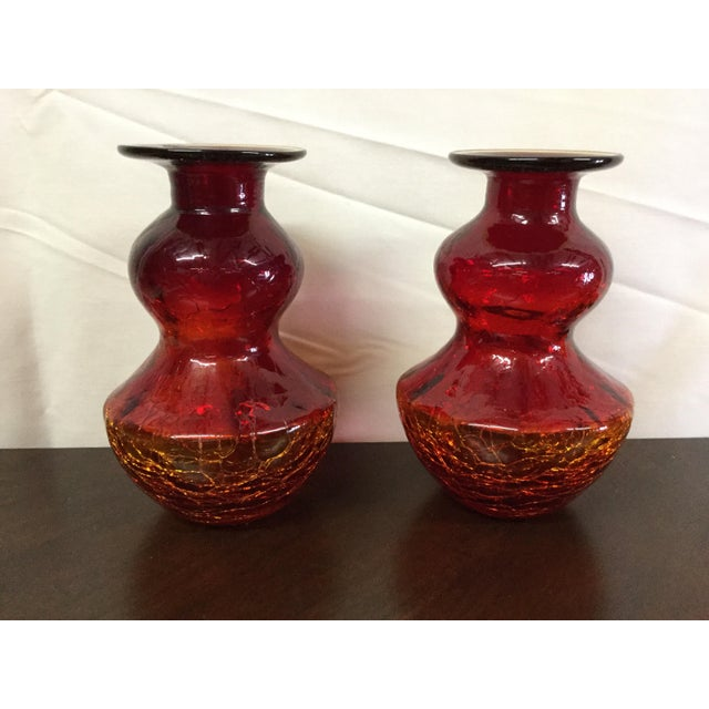 Amberina Crackle Glass Vases - A Pair - Image 2 of 4