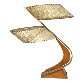 "Mid-Century Modern Atomic Boomerang ""Z"" Teak Table Lamp by Majestic For Sale"