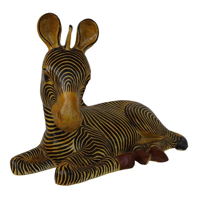 Vintage Mid-Century Sermel Art Paper Mache Zebra For Sale
