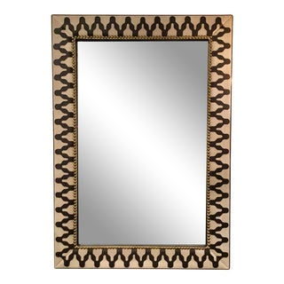 Arteriors Modern Leather and Linen Ishtar Wall Mirror For Sale