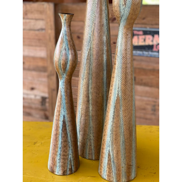 Snake Skin Wrapped Resin Vases - Set of 3 For Sale In Naples, FL - Image 6 of 13