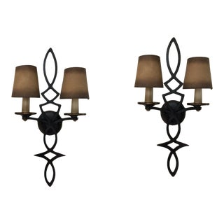Fine Arts Lamps Chateau Wall Sconces in Rustic Black Iron - A Pair