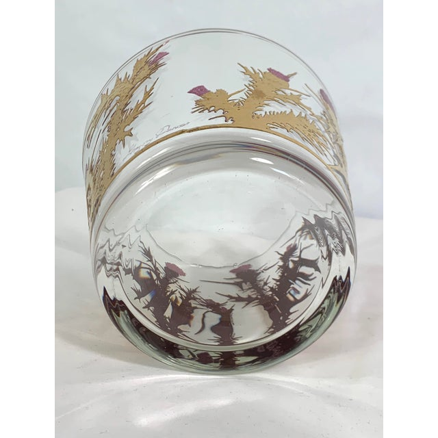 Mid-Century Modern Gregory Duncan Purple Gold Thistle Barware Ice Bucket & Highball Glasses - Set of 6 For Sale - Image 12 of 13