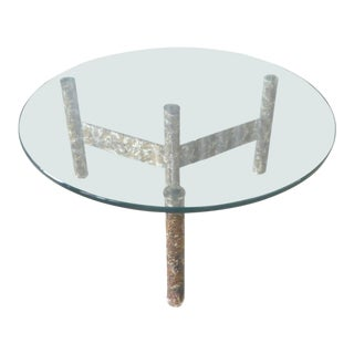 1970's Brutalist Multi Color Welded Metal Three Leg Coffee Table For Sale