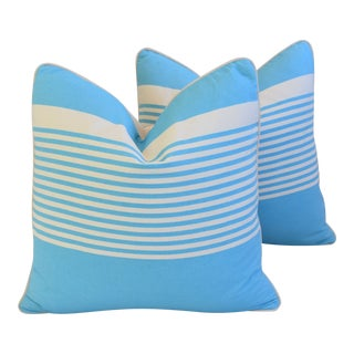 "French Blue & White Nautical Striped Feather/Down Pillows 22"" Square - Pair For Sale"