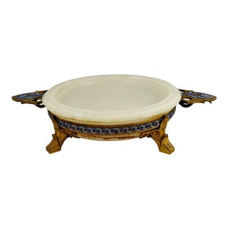ANTIQUE 19th C French Gilt Bronze ONYX & CHAMPLEVE ENAMEL Centerpiece - signed H. PICARD For Sale
