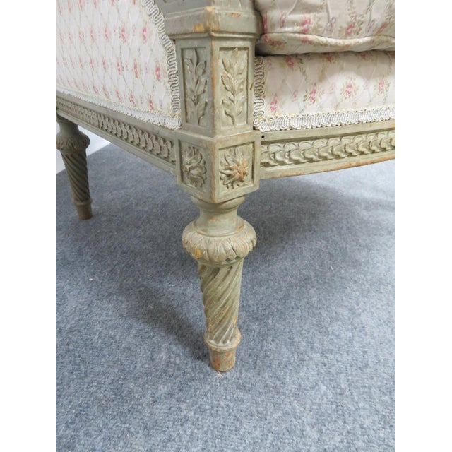 Paint Louis XIV Paint Distressed Bergere Chair For Sale - Image 7 of 8