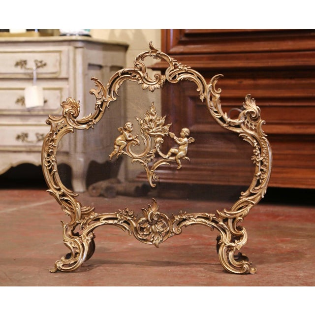 Bronze 19th Century French Louis XV Carved Bronze Doré Fireplace Screen With Cherubs For Sale - Image 8 of 8