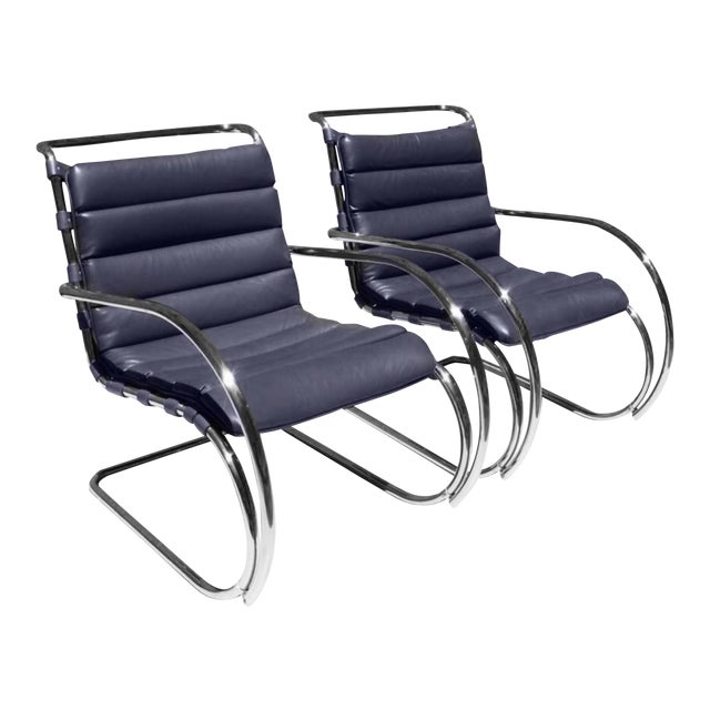 Mies Van Der Rohe for Knoll Mr Lounge Armchairs in Navy - a Pair For Sale