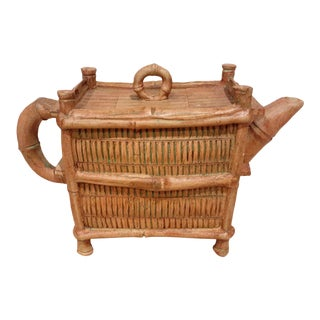 Mid 20th Century Chinese Yixing Zhusha Bamboo Wicker Cabinet Teapot For Sale