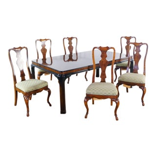 Queen Anne Drexel Heritage Dining Set - 7 Pieces For Sale