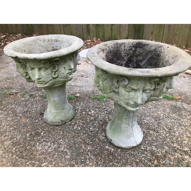 Art Nouveau Early 20th C. French Medusa Head, Faces, and Snakes Cement Planters - a Pair For Sale - Image 3 of 12