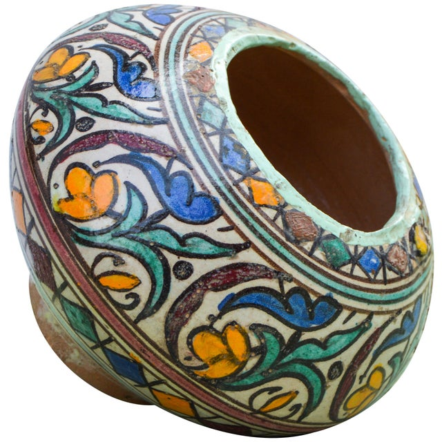 Blue Moroccan Ceramic Vase For Sale - Image 8 of 9