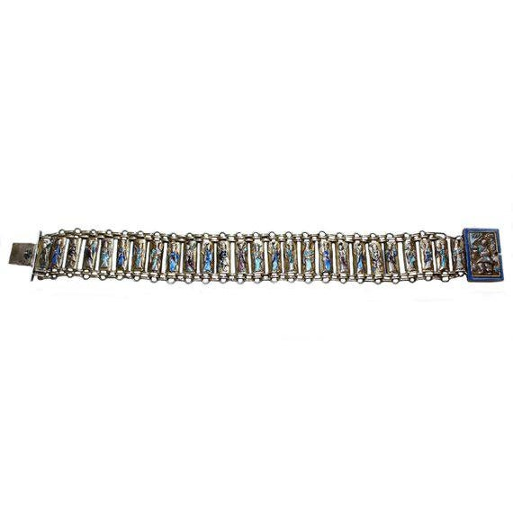 "Lovely c.1920 sterling silver repoussé figural link bracelet with Canton painted enamel. Marked ""China, Silver."" This..."